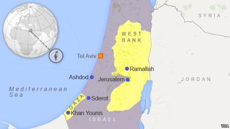 Peta Israel terhadap Palestina VOA