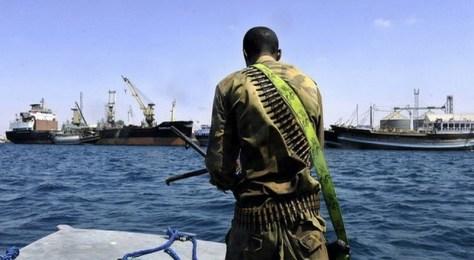 A Somali coastguard returns from a patro