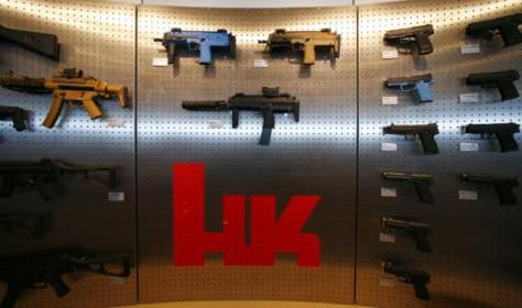 Heckler & Koch weapons are pictured at a show room at the headquarters in Oberndor