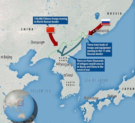 Rusia mengirim pasukan ke perbatasannya yang kecil dengan Korea Utara (dailymail)
