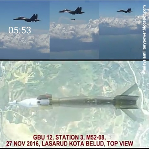 SU-30MKM drops GBU-12 Paveway II laser guided smart bomb. (Malaysia Military Power)