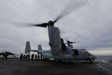 Talisman Saber 2017, Osprey di USS Bonhomme, Kamis 29 06. (Reuters)