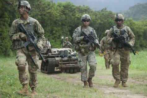 Tentara Amerika Serikat. Pentagon ingin bentuk skuad gabungan tentara manusia dan robot. (US Pacific Command)