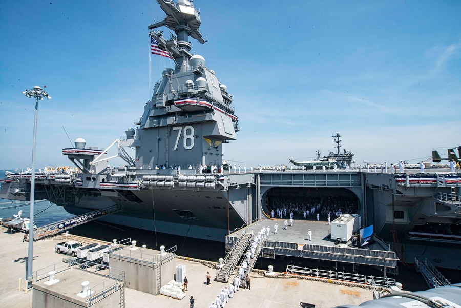 Image result for trump on uss gerald ford