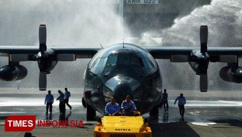 C-130 Hercules di hanggar Skatek 022 Lanud Abd.Saleh Malang.Senin,31072017. (TIMES Indonesia) 1