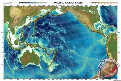 Samudera Pasifik yang melingkupi puluhan negara Asia, Amerika, dan oseania. (geoware-online.com)