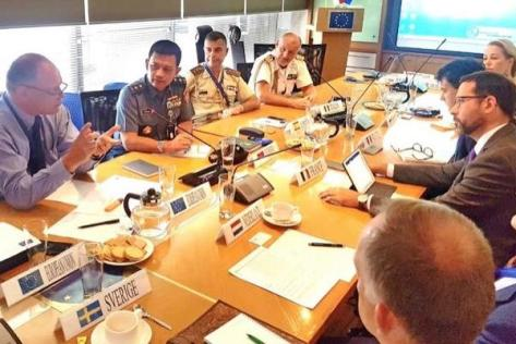 Dr TNI Amarulla Octavian saat acara European Union Defense Attaches Meeting. (Jurnas)