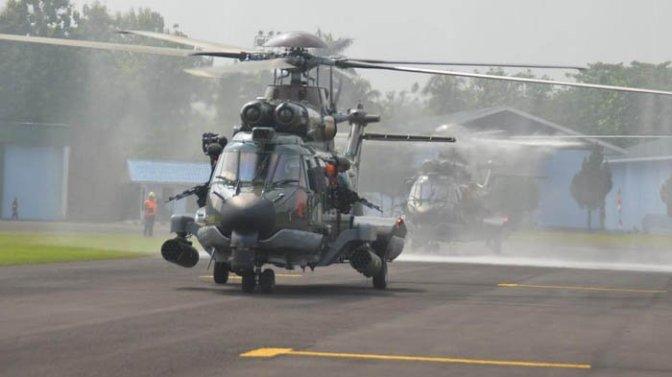 Lanud Atang Senjaya Kedatangan Dua Helikopter Dari PT DI