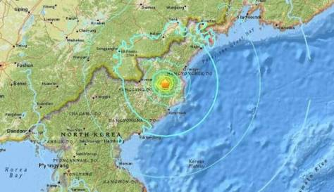 Lokasi guncangan 6,3 SR yang diduga bom hidrogen Korea Utara. (USGS)