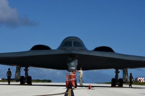 B-2 Spirit Amerika Serikat di Pangkalan Angkatan Udara Andersen, Guam, 8 Januari 2018. (Pacific Air Forces)