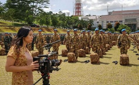 Livi Zheng saat pengambilan gambar film Indonesia A True Partner for World Peace (Istimewa)