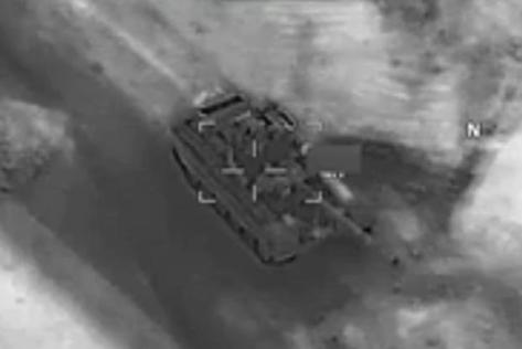 DoD video shows a U.S Air Force Reaper strike on a Russia-made T-72 tank. (Screen shot of DoD video)