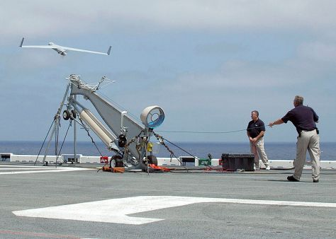 Unmanned Aerial Vehicle (UAV) called Scan Eagle launches from a pneumatic wedge catapult launcher (Wiki)