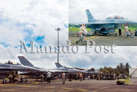 F-16 milik US Pasifik Air Force, parkir di Landasan TNI Angkatan Udara Sam Ratulangi, Manado, Kamis (0803). (Manado Post)